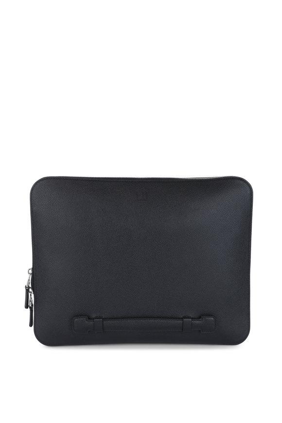 Dunhill Black Leather Zip-Around Portfolio
