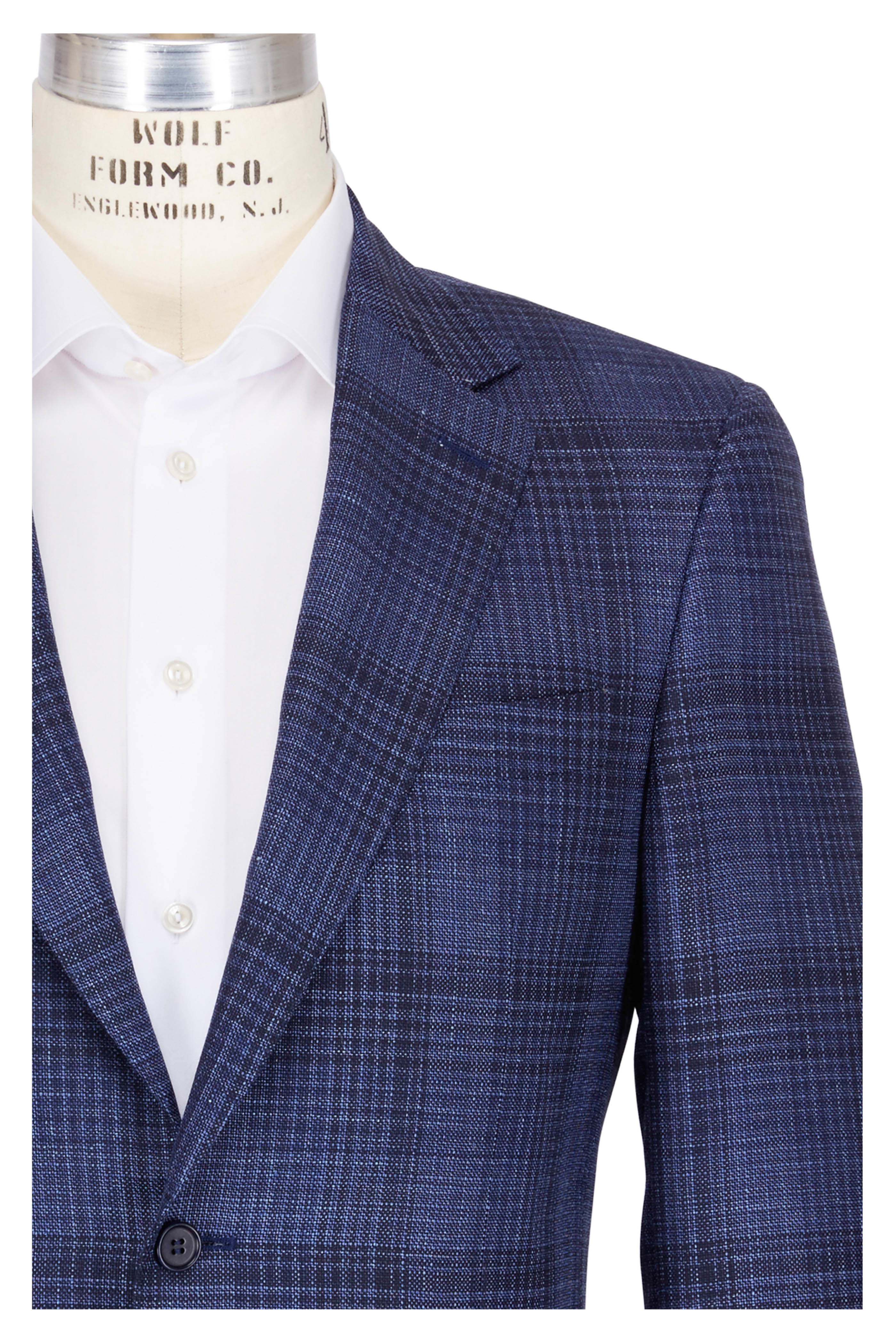 96d7fc0909fb32 Canali - Navy Blue Wool Tonal Plaid Sportcoat | Mitchell Stores