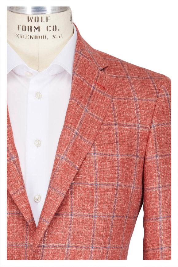 Canali Kei Salmon & Navy Window Check Sportcoat