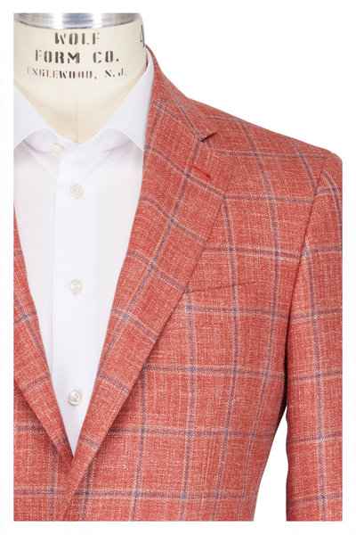 Canali - Kei Salmon & Navy Window Check Sportcoat