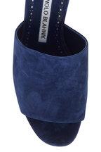 Manolo Blahnik - Rapallato Navy Blue Suede Slide Sandal, 50mm
