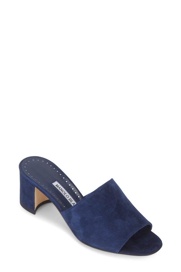 Manolo Blahnik Rapallato Navy Blue Suede Slide Sandal, 50mm