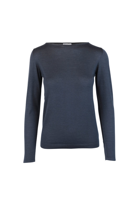 Brunello Cucinelli Midnight Blue Cashmere & Silk Knit Top