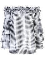 Michael Kors Collection - Black & White Gingham Off-The-Shoulder Top