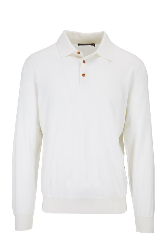 Ermenegildo Zegna White Cashmere & Silk Polo Sweater
