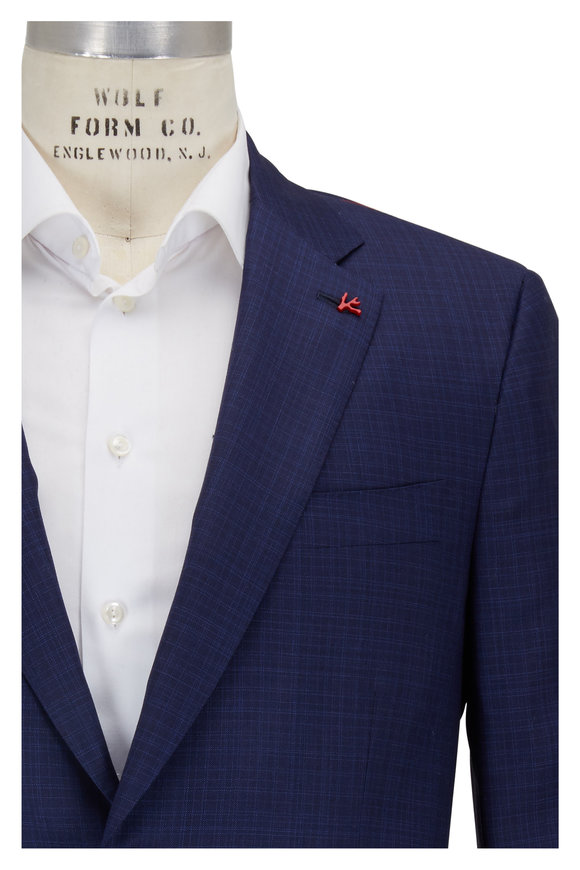 Isaia Blue Tonal Pattern Wool Suit