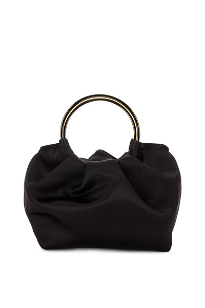 The Row - Black Satin Double Circle Micro Bag