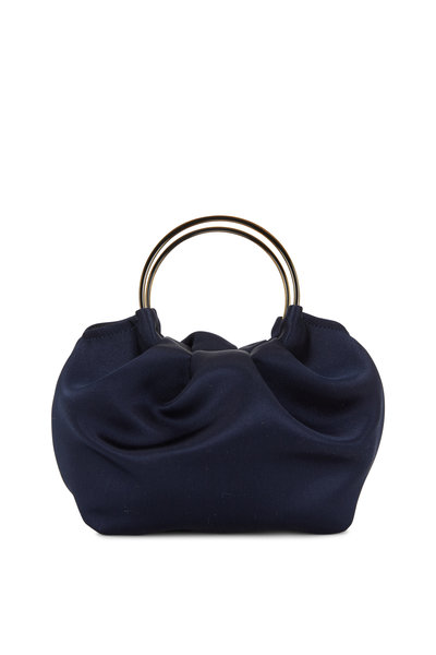 The Row - Navy Blue Satin Double Circle Micro Bag
