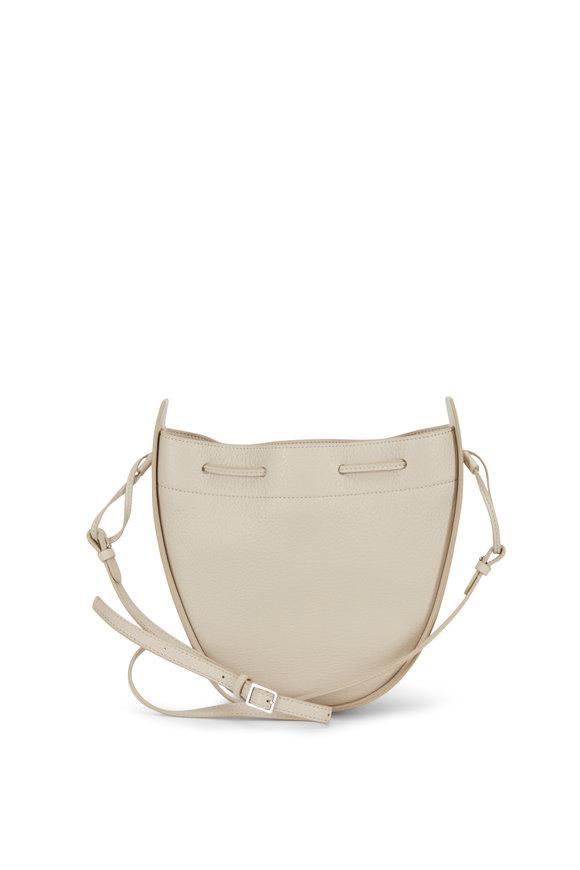 The Row Eggshell Leather Drawstring Pouch Crossbody Bag