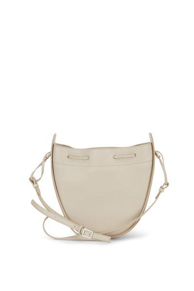 The Row - Eggshell Leather Drawstring Pouch Crossbody Bag