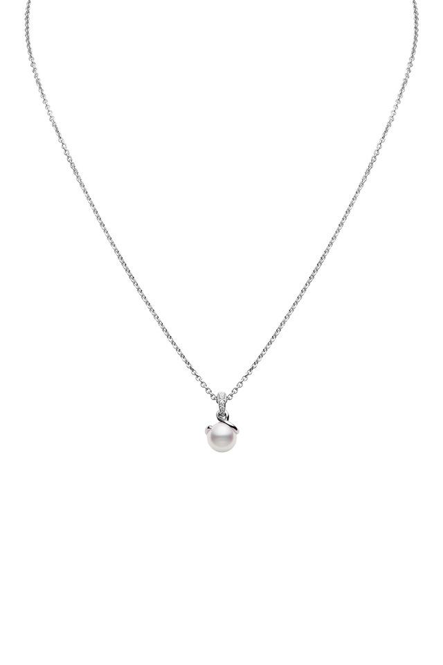 White Gold Akoya Pearl Diamond Pendant