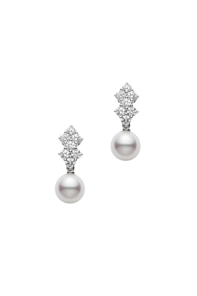 White Gold Pearl Diamond Stud Earrings