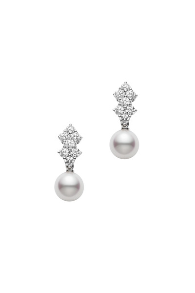 Mikimoto - White Gold Pearl Diamond Stud Earrings