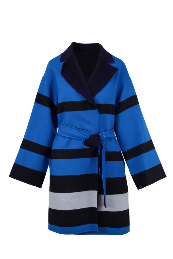 Escada Madi Navy & Black Wool Bold-Striped Belted Sweater