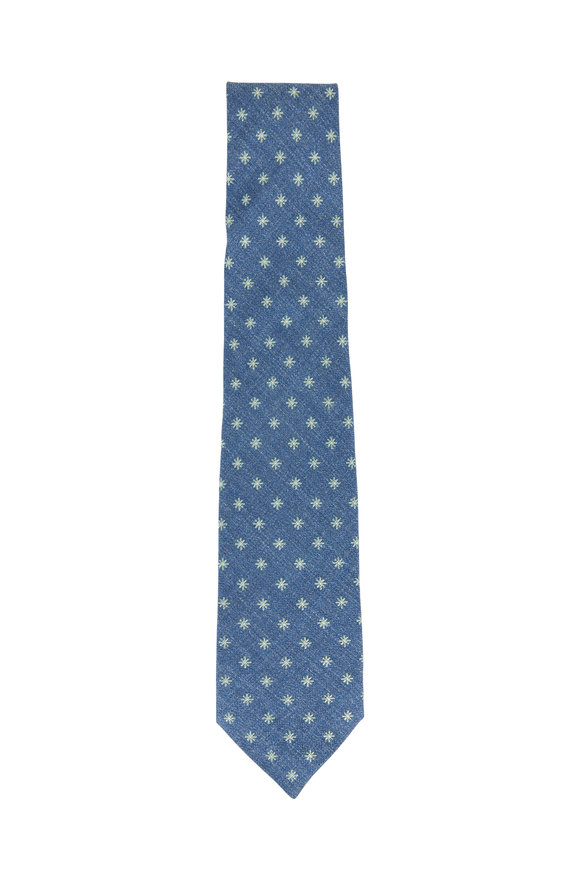 Isaia Blue & Green Flowers Necktie