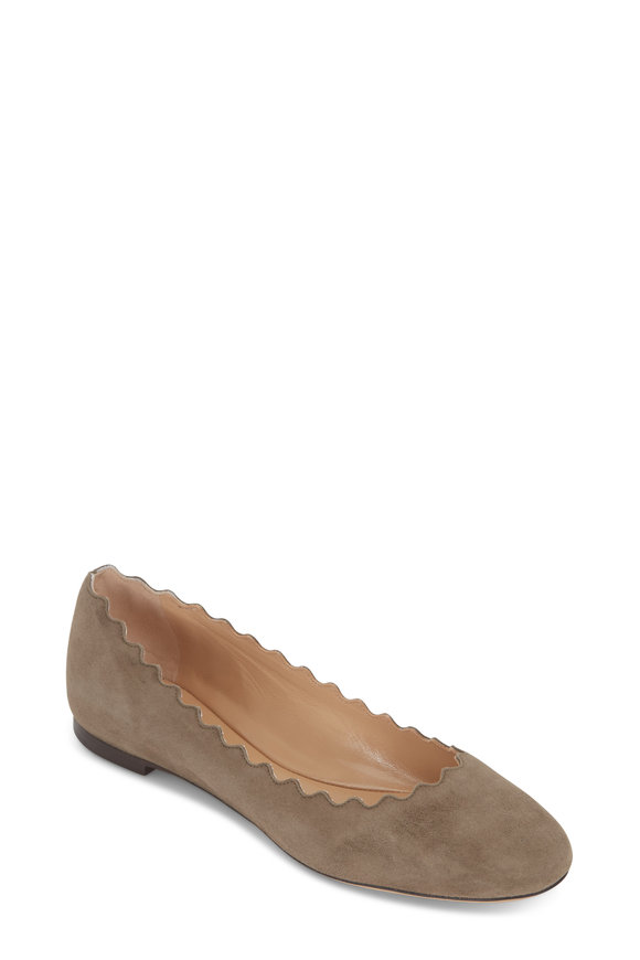 Chloé Lauren Maple Brown Suede Scallop Flat