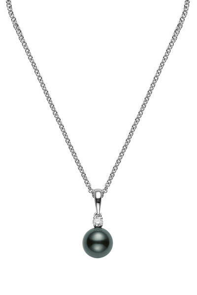 Mikimoto - White Gold Black South Sea Pearl Diamond Necklace