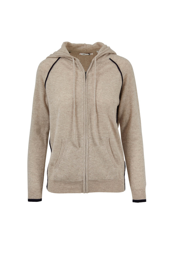 Chinti & Parker Oatmeal Cashmere Zip Hoodie