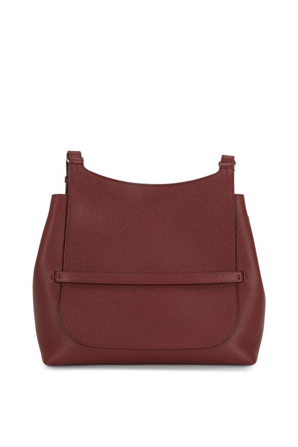The Row Sideby Maroon Leather Crossbody Bag