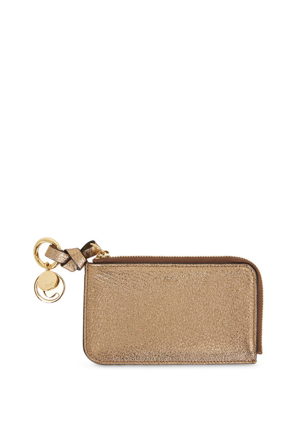 Chloé Metallic Gold Leather Zip Card Case