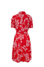 Carolina Herrera - Red Printed Short Sleeve Shirtdress
