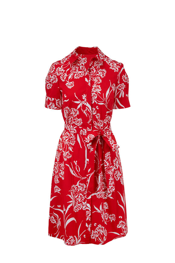 Carolina Herrera Red Printed Short Sleeve Shirtdress