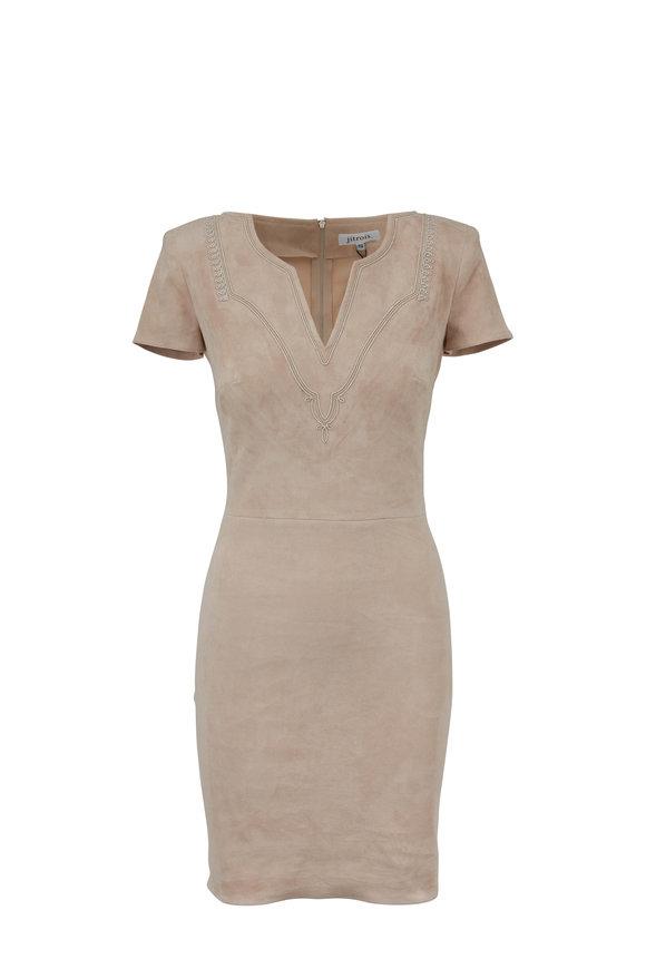 Jitrois Lalah Tan Stretch Suede V-Neck Short Sleeve Dress