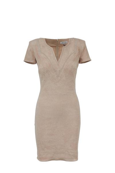 Jitrois - Lalah Tan Stretch Suede V-Neck Short Sleeve Dress