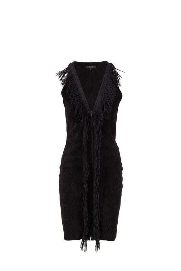 Jitrois Black Stretch Suede Fringed Sleeveless Dress