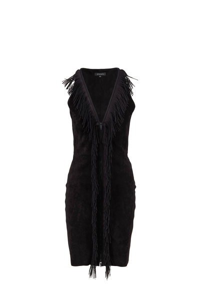 Jitrois - Black Stretch Suede Fringed Sleeveless Dress