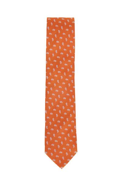 Eton - Orange Mini Paisley Silk Necktie