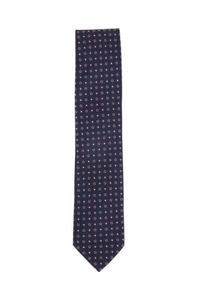 Eton - Navy Dot Pattern Silk Necktie