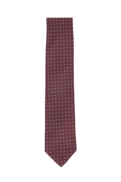Eton - Plum Dot Pattern Silk Necktie