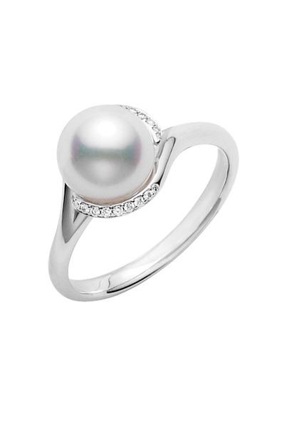 Mikimoto - White Gold Akoya Pearl Diamond Ring
