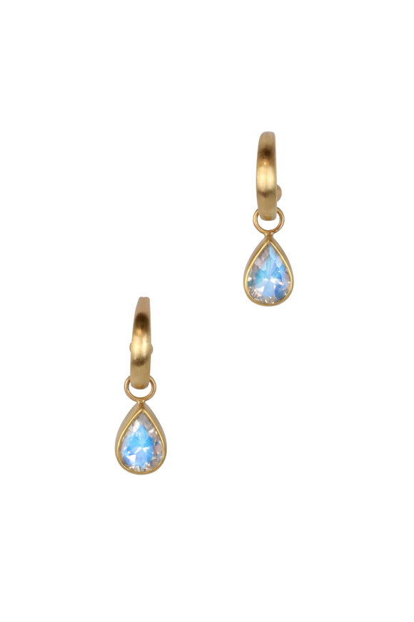 Caroline Ellen Yellow Gold Mini Moonstone Hoop Earrings