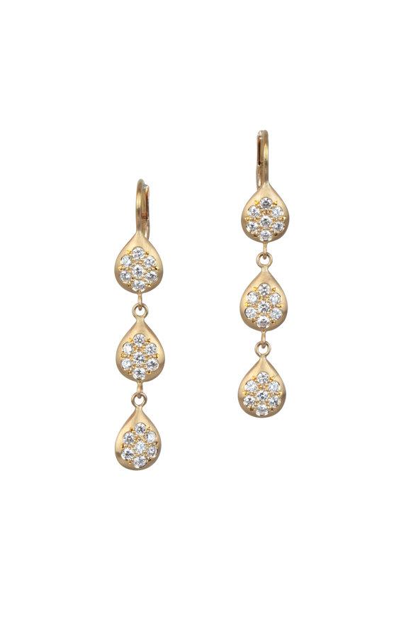 Caroline Ellen Yellow Gold Pavé Triple Drop Earrings