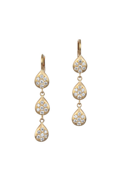 Caroline Ellen - Yellow Gold Pavé Triple Drop Earrings