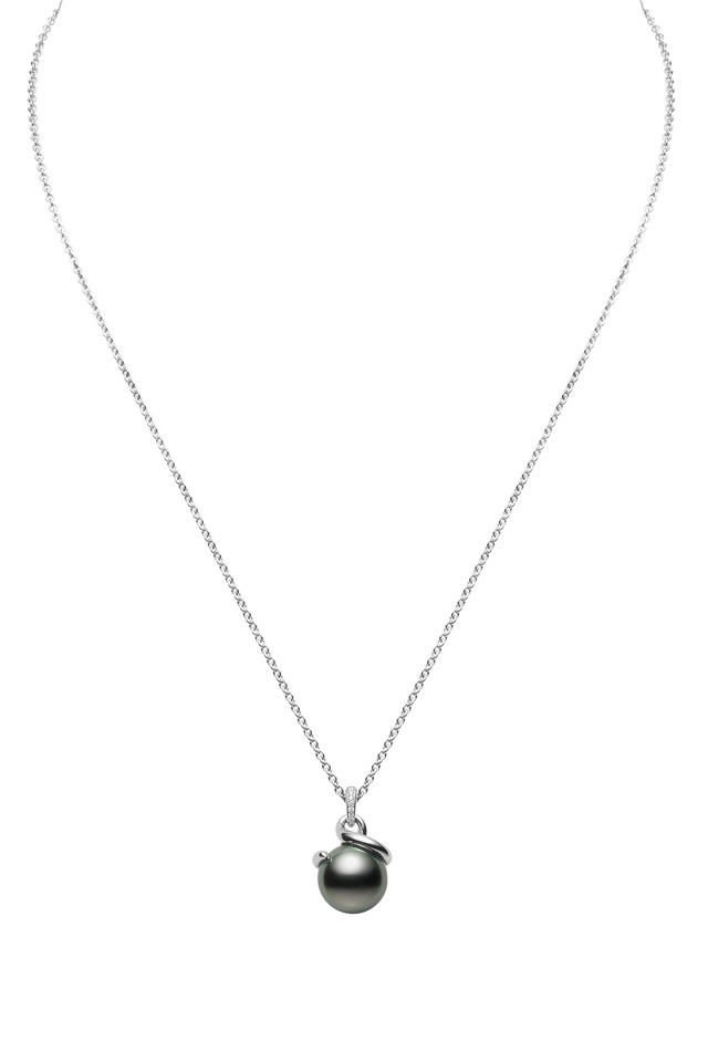 White Gold Black Pearl Diamond Pendant