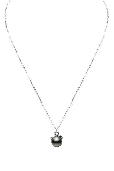 Mikimoto - White Gold Black Pearl Diamond Pendant
