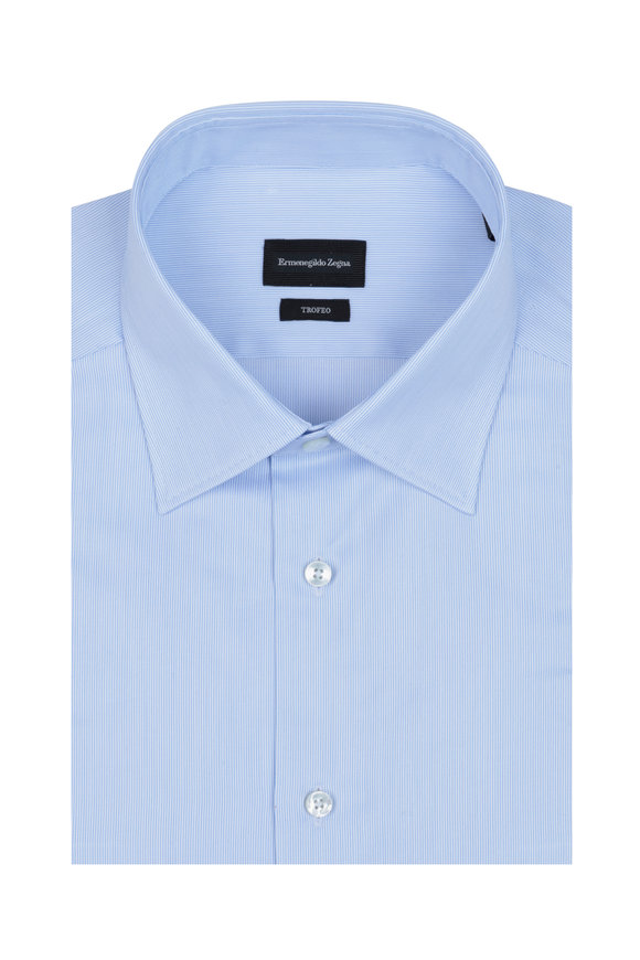 Ermenegildo Zegna Light Blue Striped Dress Shirt