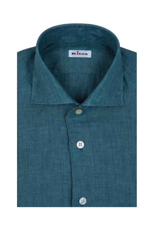 Kiton Teal Linen Sport Shirt