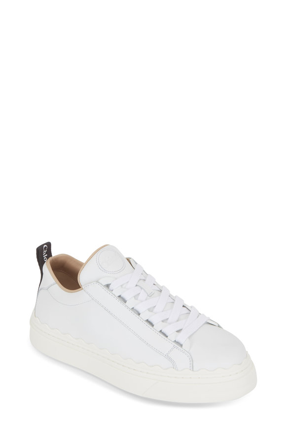 Chloé White Leather Scalloped Sneaker