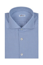 Kiton - Blue & White Check Dress Shirt