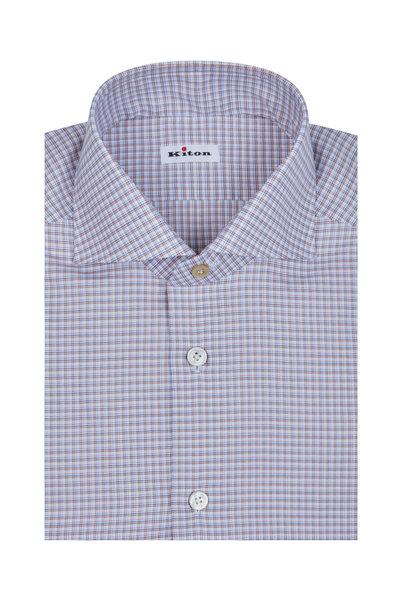 Kiton - White, Blue & Orange Check Dress Shirt