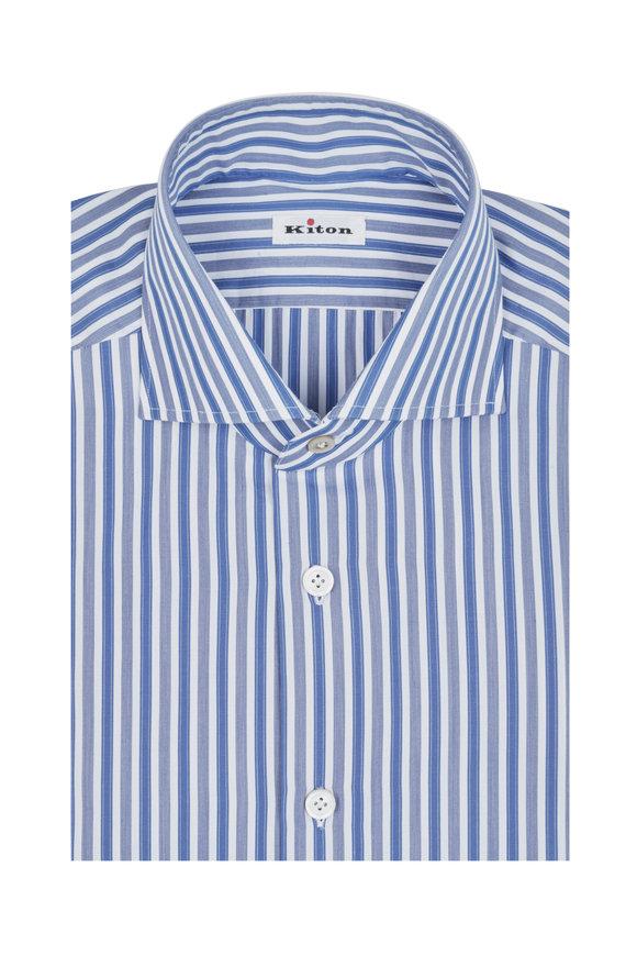 Kiton Blue & White Striped Dress Shirt
