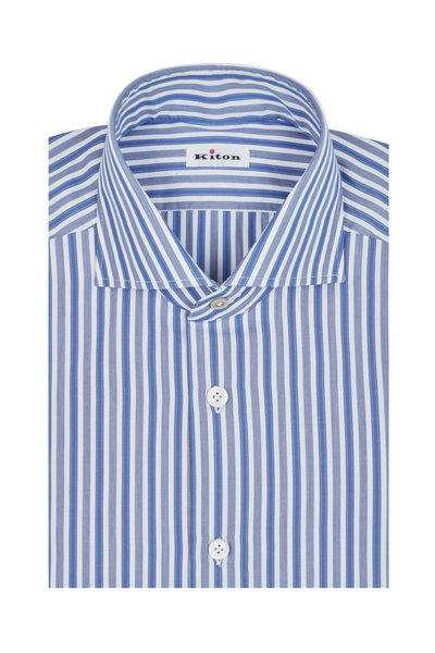 Kiton - Blue & White Striped Dress Shirt