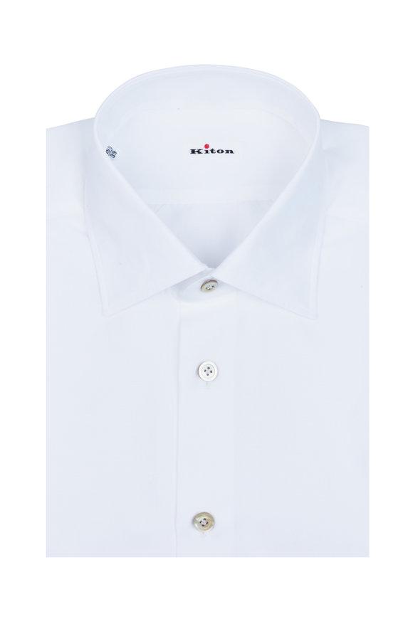 Kiton White Cotton & Linen Dress Shirt