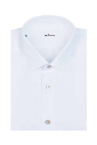 Kiton - White Cotton & Linen Dress Shirt