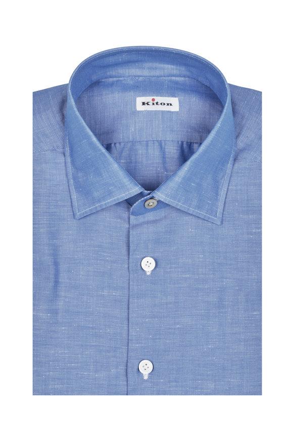 Kiton Solid Blue Cotton & Linen Dress Shirt