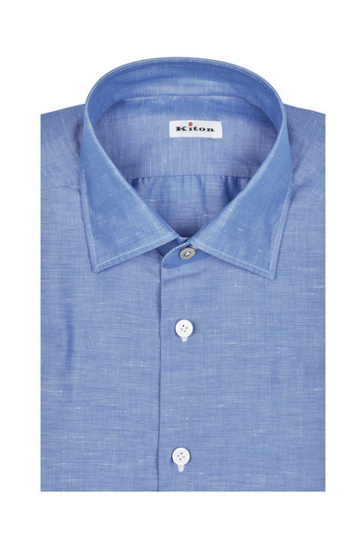 Kiton - Solid Blue Cotton & Linen Dress Shirt